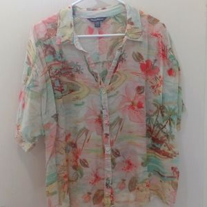 Tommy Bahama floral button up sheer top